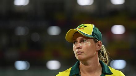 Meg Lanning, Captain of Australia during the ICC Women's World T20 2018 Final between Australia and England at Sir Vivian Richards Cricket Ground on November 24, 2018 in Antigua, Antigua and Barbuda.