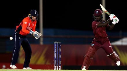 England faced off against the Windies in what was the most thrilling game of the group stage. It was the hosts who managed to come out on top of the pulsating encounter with a four-wicket win to top Group A.