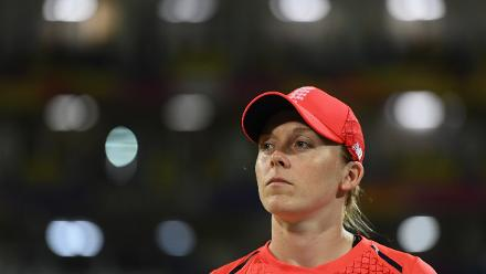 Heather Knight, Captain of England during the ICC Women's World T20 2018 Final between Australia and England at Sir Vivian Richards Cricket Ground on November 24, 2018 in Antigua, Antigua and Barbuda.