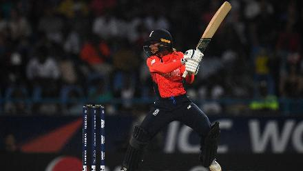 Danielle Wyatt of England bats during the ICC Women's World T20 2018 Final between Australia and England at Sir Vivian Richards Cricket Ground on November 24, 2018 in Antigua, Antigua and Barbuda.