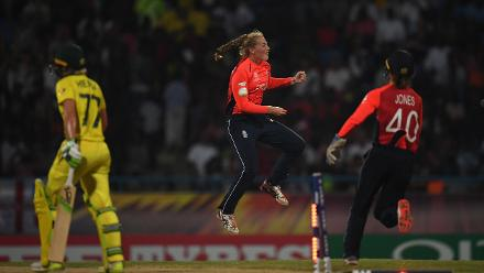 Sophie Ecclestone of England(C) celebrates after dismissing Alyssa Healy of Australia during the ICC Women's World T20 2018 Final between Australia and England at Sir Vivian Richards Cricket Ground on November 24, 2018 in Antigua, Antigua and Barbuda.