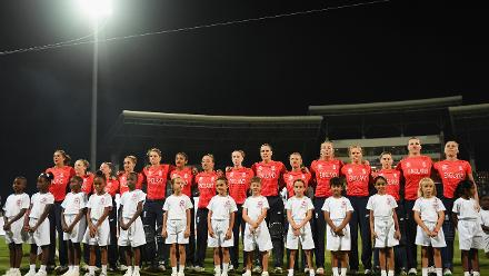 The England side line up for the national anthems during the ICC Women's World T20 2018 Final between Australia and England at Sir Vivian Richards Cricket Ground on November 24, 2018 in Antigua, Antigua and Barbuda.