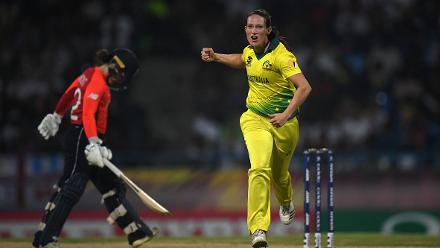 Megan Schutt of Australia celebrates after dismissing Tammy Beaumont of England during the ICC Women's World T20 2018 Final between Australia and England at Sir Vivian Richards Cricket Ground on November 24, 2018 in Antigua, Antigua and Barbuda.