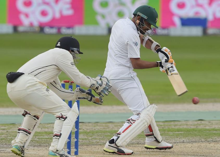 Babar Azam bats against New Zealand on his way to his a maiden Test hundred