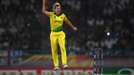 Ellyse Perry of Australia celebrates after dismissing Natalie Sciver of England during the ICC Women's World T20 2018 Final between Australia and England at Sir Vivian Richards Cricket Ground on November 24, 2018 in Antigua, Antigua and Barbuda.