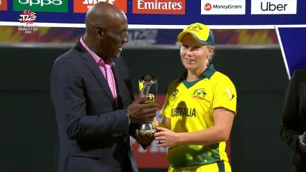 WT20: Alyssa Healy receives Player of the Tournament trophy