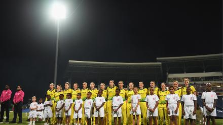 The Australia side line up for the national anthems during the ICC Women's World T20 2018 Final between Australia and England at Sir Vivian Richards Cricket Ground on November 24, 2018 in Antigua, Antigua and Barbuda.