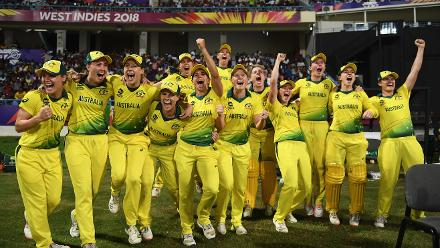 The Australian side celebrate after the final winning runs are hit during the ICC Women's World T20 2018 Final between Australia and England at Sir Vivian Richards Cricket Ground on November 24, 2018 in Antigua, Antigua and Barbuda.