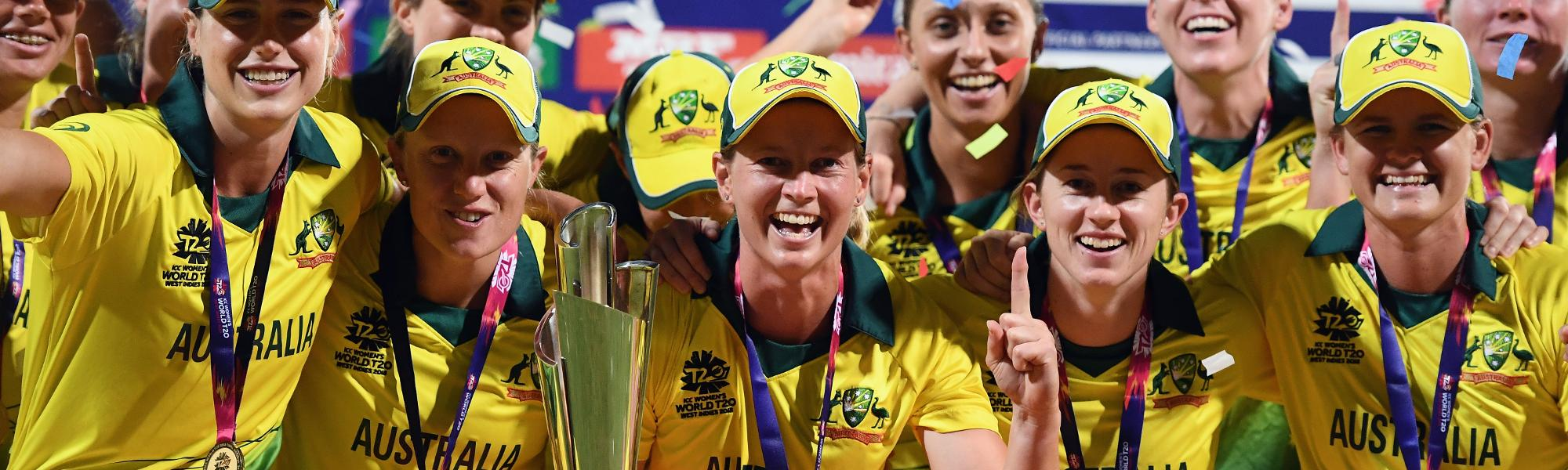 Meg Lanning of Australia celebrates with the trophy during the ICC Women's World T20 2018 Final between Australia and England at Sir Vivian Richards Cricket Ground on November 24, 2018 in Antigua, Antigua and Barbuda.