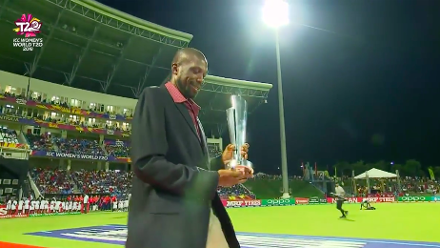 AUS v ENG: Sir Curtly Ambrose brings out the WT20 trophy