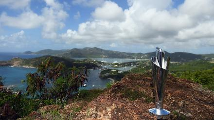 Detailed view of the trophy during the Winning Captain's Photocall - ICC Women's World T20 2018 at Shirley Heights Lookout on November 25, 2018 in Antigua, Antigua and Barbuda.