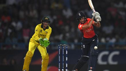 Lauren Winfield of England bats during the ICC Women's World T20 2018 Final between Australia and England at Sir Vivian Richards Cricket Ground on November 24, 2018 in Antigua, Antigua and Barbuda.