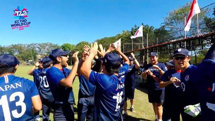 ICC Men's T20 World Cup EAP B Qualifier: The Japan players perform the Honkey Janken ritual before a game
