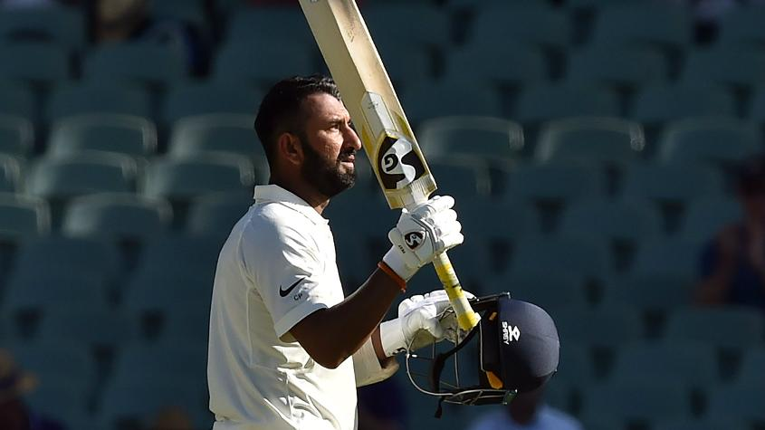 Cheteshwar Pujara brought up his 16th Test hundred – his first in Australia