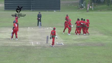 ICC U19 CWC Asia Qualifier Division 2: Bahrain's Umair Khalid is bowled by Maldives' Mauroof Looth