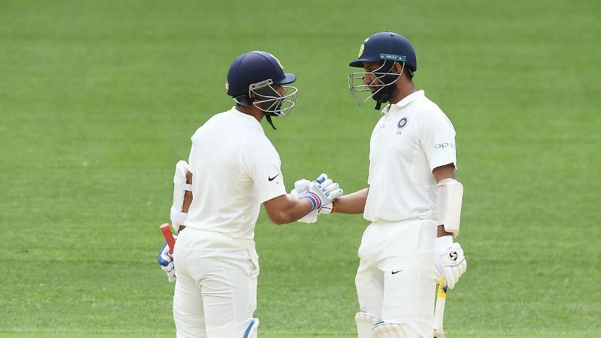 Ajinkya Rahane and Cheteshwar Pujara put up a fine 87-run partnership to prop India up