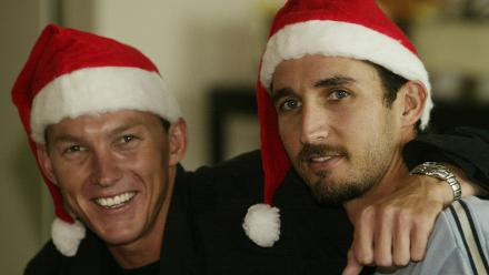 Australia's Brett Lee and Jason Gillespie get in the Christmas spirit at the Australian Team Christmas Lunch