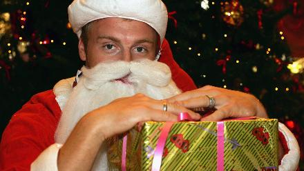 England's Andrew Flintoff dresses as Santa Claus