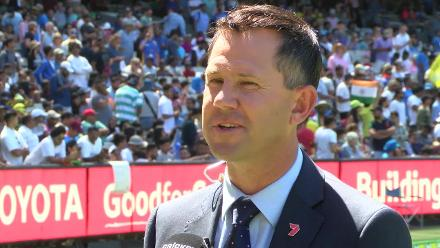 Former Australia captain Ricky Ponting speaks after being formally inducted into the ICC Cricket Hall of Fame