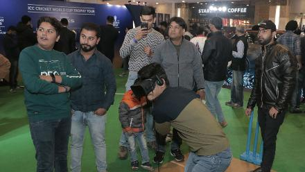 Fans explore their virtual cricket skills during the ICC CWC Trophy Tour driven by Nissan Kicks