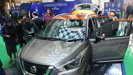 Fans check out the Nissan Kicks during the ICC CWC Trophy Tour driven by Nissan Kicks