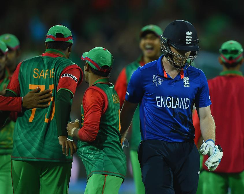 England crashed out of the group stages at the Men's Cricket World Cup 2015 after defeat to Bangladesh