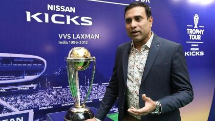 Laxman joins ICC CWC Trophy Tour driven by Nissan Kicks in Delhi