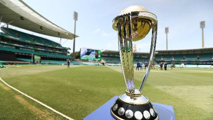 The Cricket World Cup trophy at the Sydney Cricket Ground