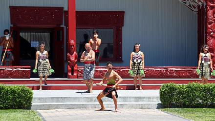 People at Te Puia in Rotorua performing a Haka during the ICC Cricket World Cup Trophy