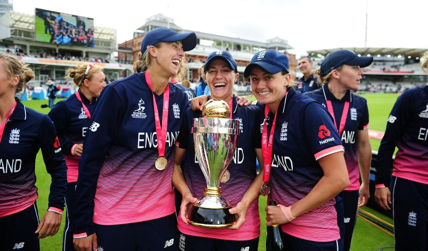 Brunt (centre) was part of England's 2017 World Cup-winning side