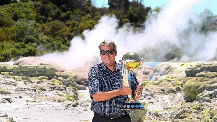 Martin Snedden with the ICC Cricket World Cup Trophy at Te Puia in Rotorua