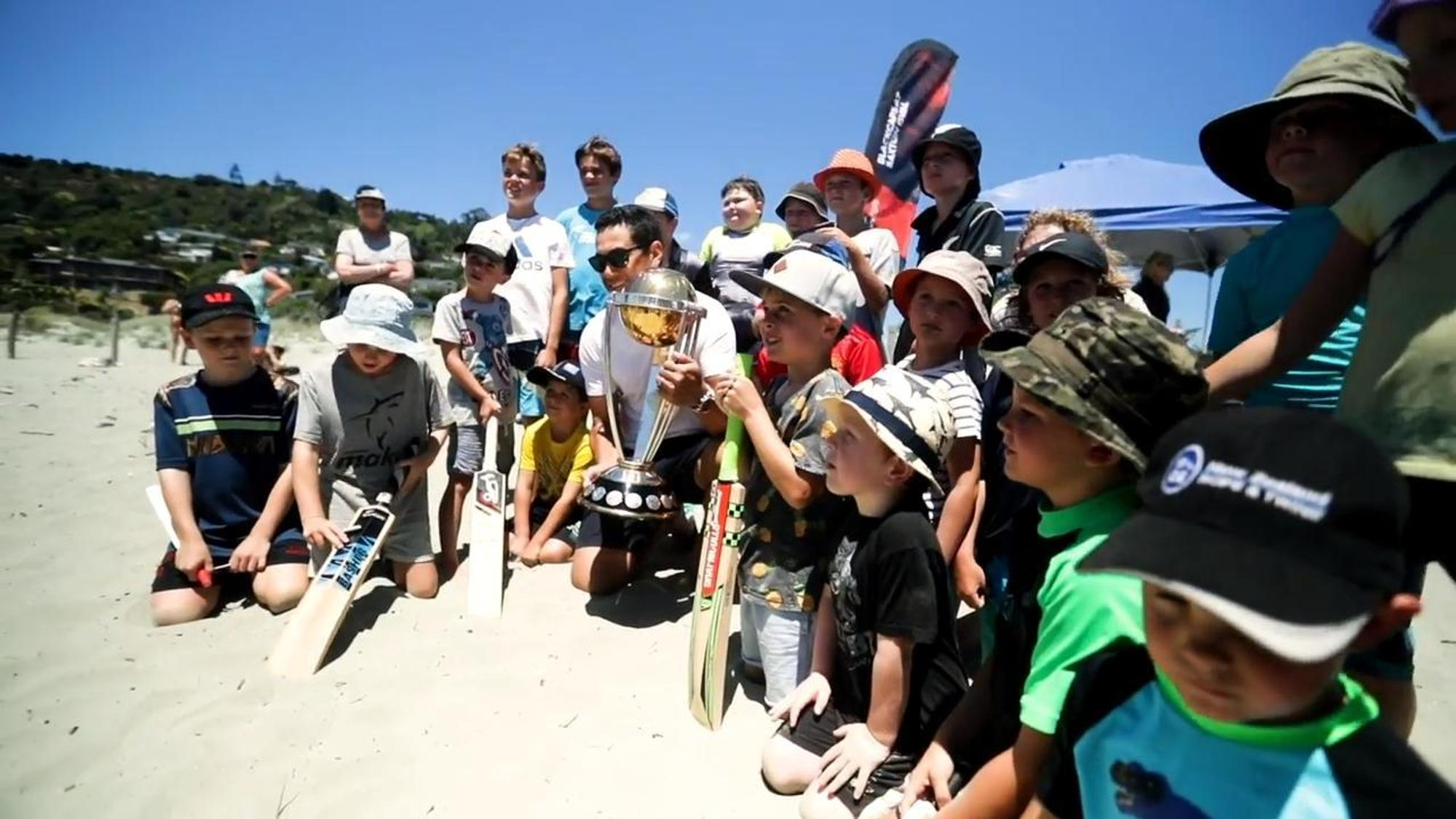 Ross Taylor and former Blackcaps join the fun as the ICC CWC Trophy Tour driven by Nissan reaches New Zealand