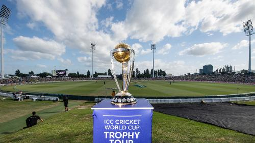 The ICC Cricket Wolrd Cup Trophy at the Bay Oval in Mount Maunganui