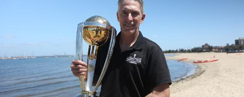 Former Australia fast bowler Damien Fleming with the CWC Trophy in Melbourne