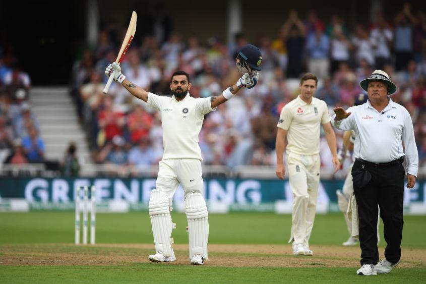 Kohli guided Chris Woakes to third man to complete his 23rd Test ton, but the England bowler soon dismissed him
