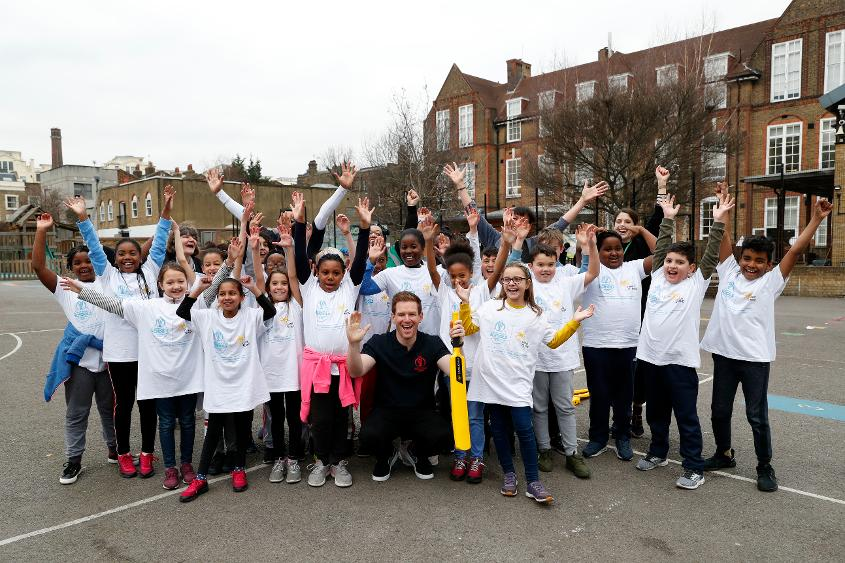 Eoin Morgan joined pupils at Grafton Primary School in Islington