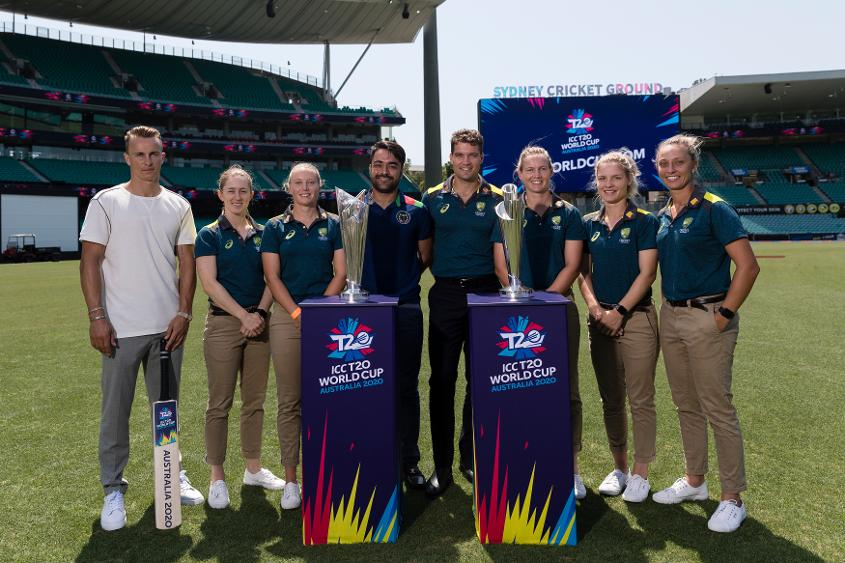 A star cast with the ICC T20 World Cup trophies
