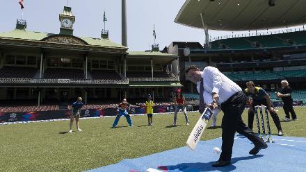 Australia politician Stuart Ayres plays a shot during the ICC T20 World Cup 2020 fixture announcement event
