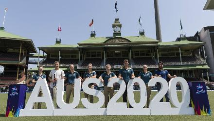 Players pose during the event announcing the ICC T20 World Cup 2020 fixtures