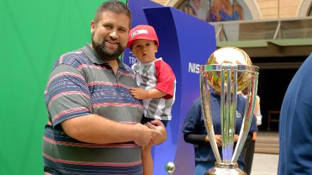 Cricket fans attend the CWC Trophy Tour at the Nelson Mandela Square, Johannesburg