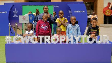 Cricket fans attend the CWC Trophy Tour at Nelson Mandela Square, Johannesburg