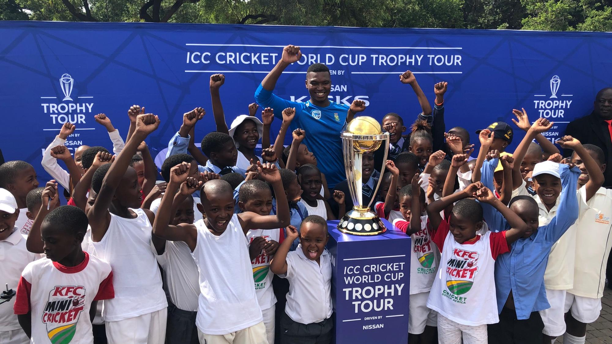 South Africa pacer Lungi Ngidi met local children during the ICC Cricket World Cup Trophy Tour, driven by Nissan, at Hector Pieterson Memorial