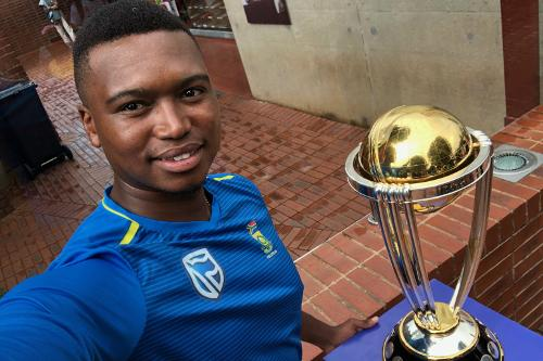 South Africa pacer Lungi Ngidi with the ICC Cricket World Cup Trophy