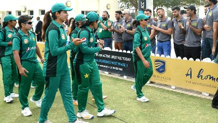Pakistan Women are cheered on by their fellow male cricketers