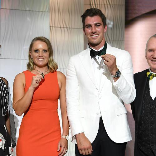 Alyssa Healy and Pat Cummins with Australia legends Belinda Clark and Allan Border