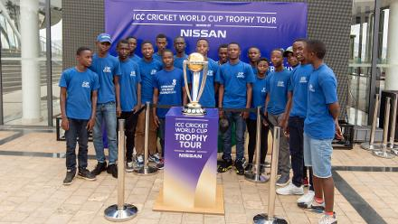 Rwanda men cricketers with the trophy