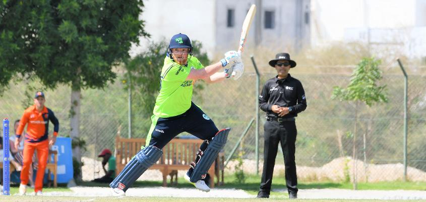 Stuart Poynter smashed the last ball of a tense chase for six to deliver victory for Ireland