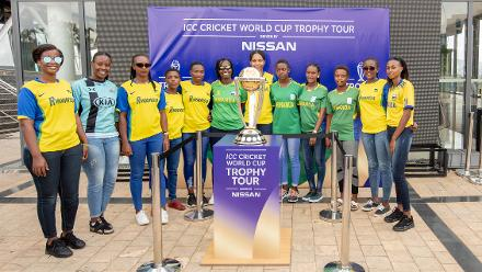 Rwanda women cricketers with the trophy