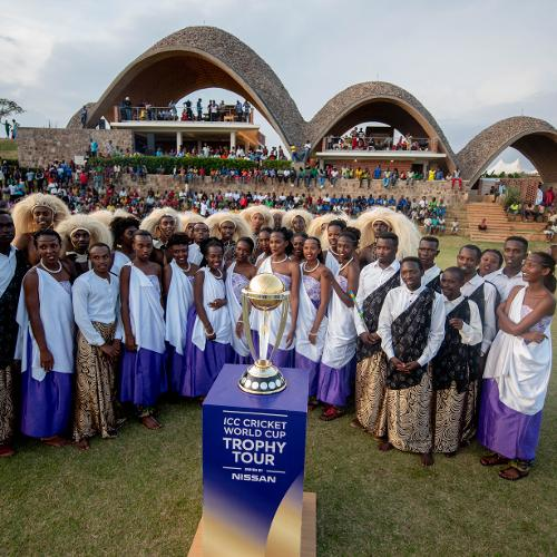 Traditional Rwanda dancers with the trophy