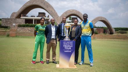 National captains and Rwanda Cricket representatives with the trophy